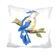 Dana Gibson Blue Parrot Pillow, 18""