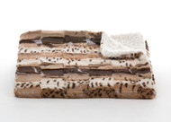 Tourance Animal Print Throw in Patched Fur with Ivory Rosebud