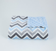 Tourance Chevron Baby Blanket In Grey & Blue