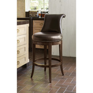 Ambella Ionic Counter Stool - Walnut w/ Brown Leather