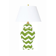 Dana Gibson Green Bargello Ginger Jar Lamp