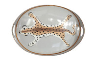 Dana Gibson Oval Tray in Grey Leopard