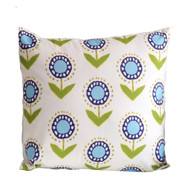 """Dana Gibson Posey Ikat In Turquoise On White 22"""" Pillow"""