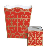 Dana Gibson Orange Klimt Wastebasket and Tissue Box