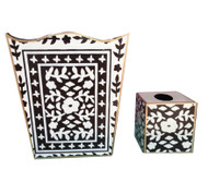 Dana Gibson Mosaic in Brown Wastebasket and Tissue