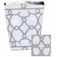 Dana Gibson Grey Ming Wastebasket and Tissue Box