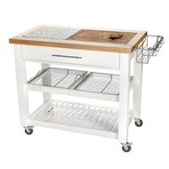 "Chris & Chris Pro Chef 23.63"" x 40.5"" x 35.75"" Food Prep Station - White"