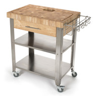 "Chris & Chris Stadium Series Kitchen Work Station with 2.5"" End Grain Top Solid Stainless Shelves & Legs"