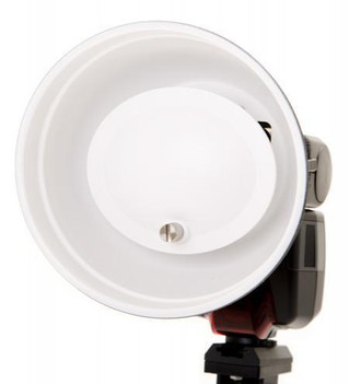 Mini Beauty dish fitted with White Reflector for softer light