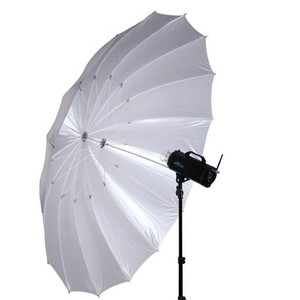 215cm White Satin 16 Fibre Rib Parabolic Umbrella