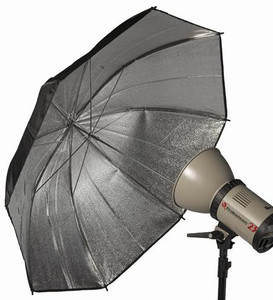 Pro Black & Silver Umbrella 145cm - 8mm shaft