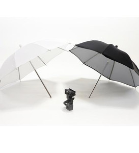 Twin Mini Umbrella & Flash Bracket Kit for Speedlite Black/White & Translucent 60cm