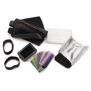 Speedlite Accessory Kit with soft box, grid, bounce flap and Velcro mounting kit