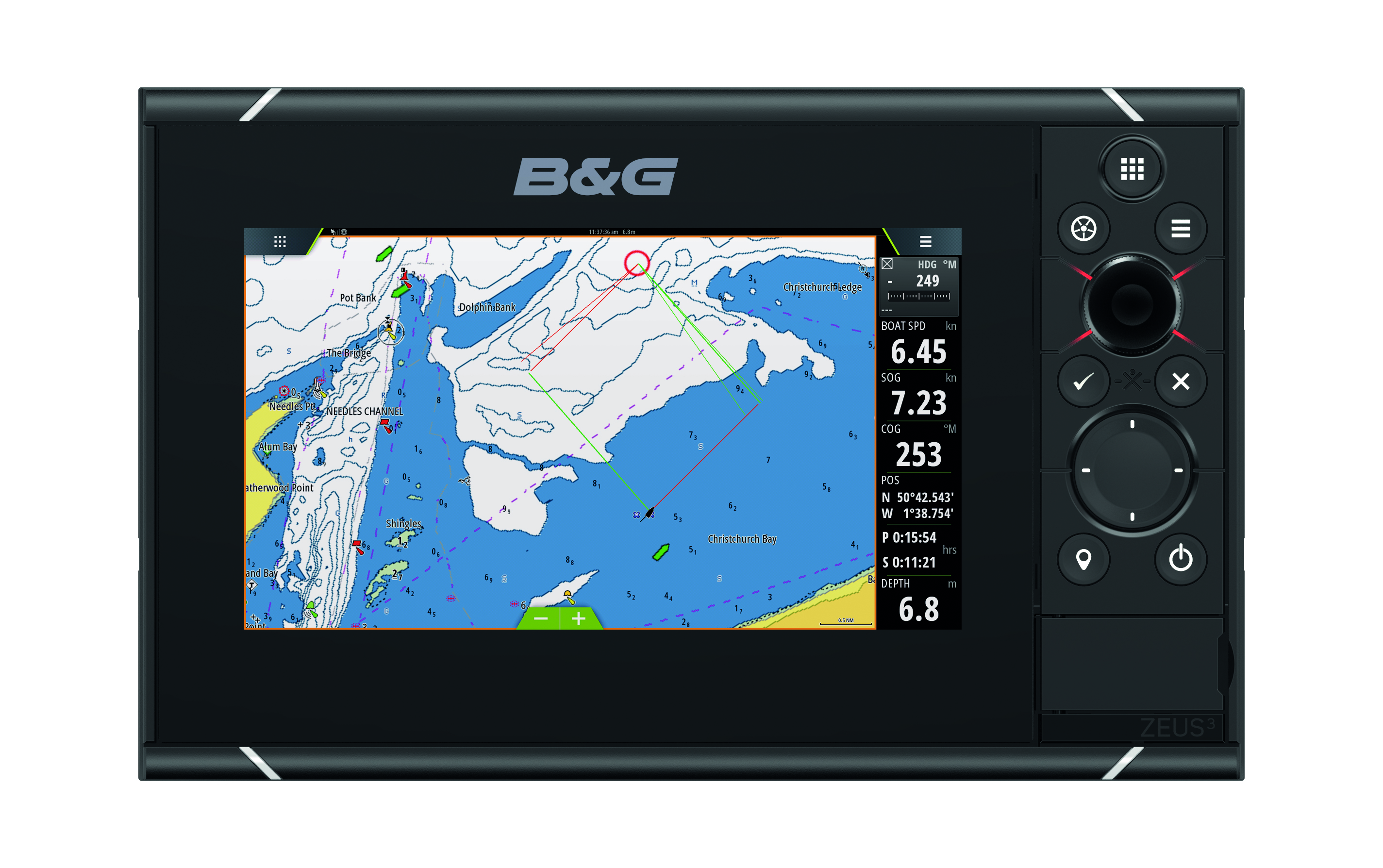 b and g zeus 3 7 multifunction display front view