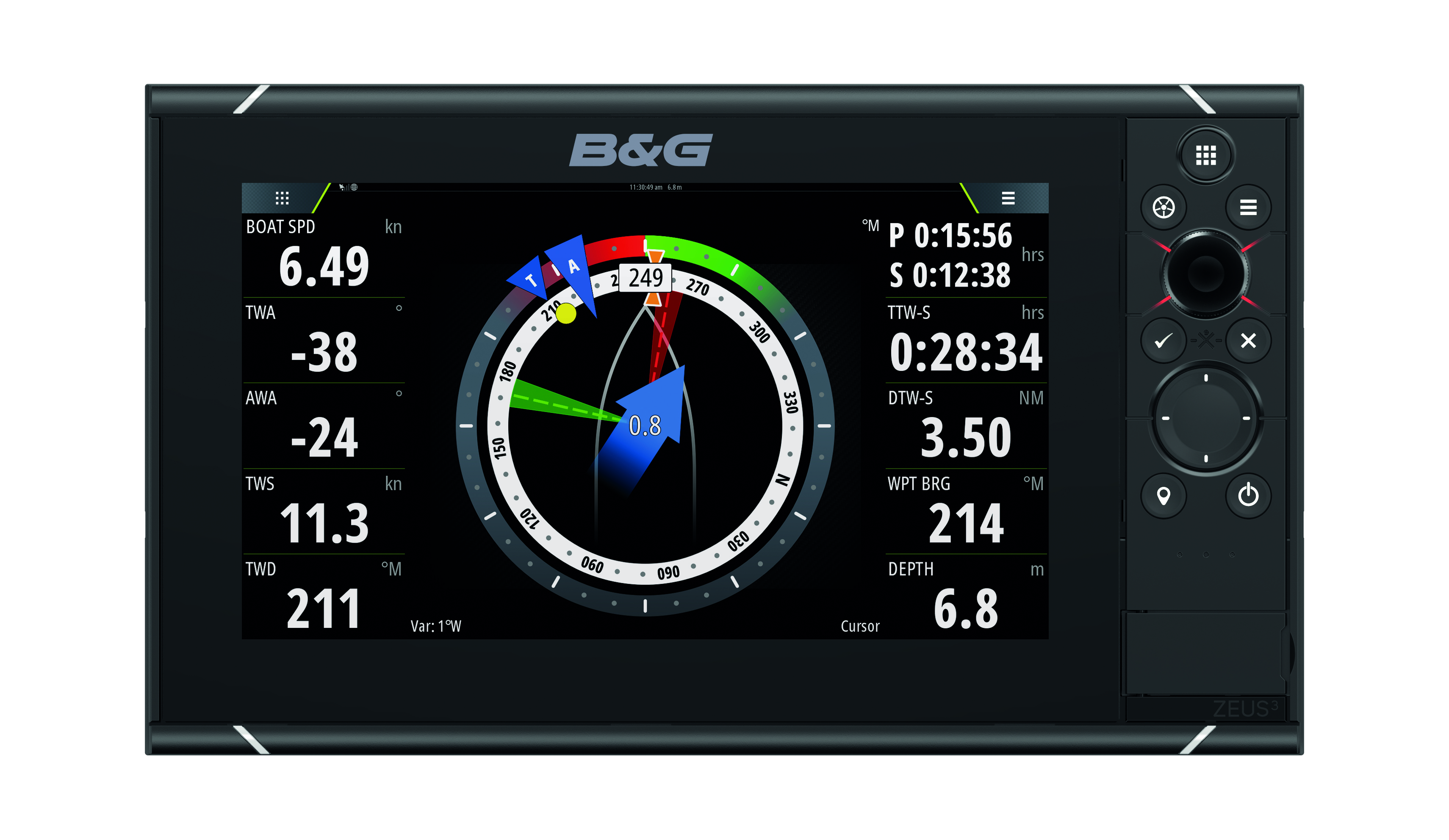 b and g zeus 3 9 multifunction display front view