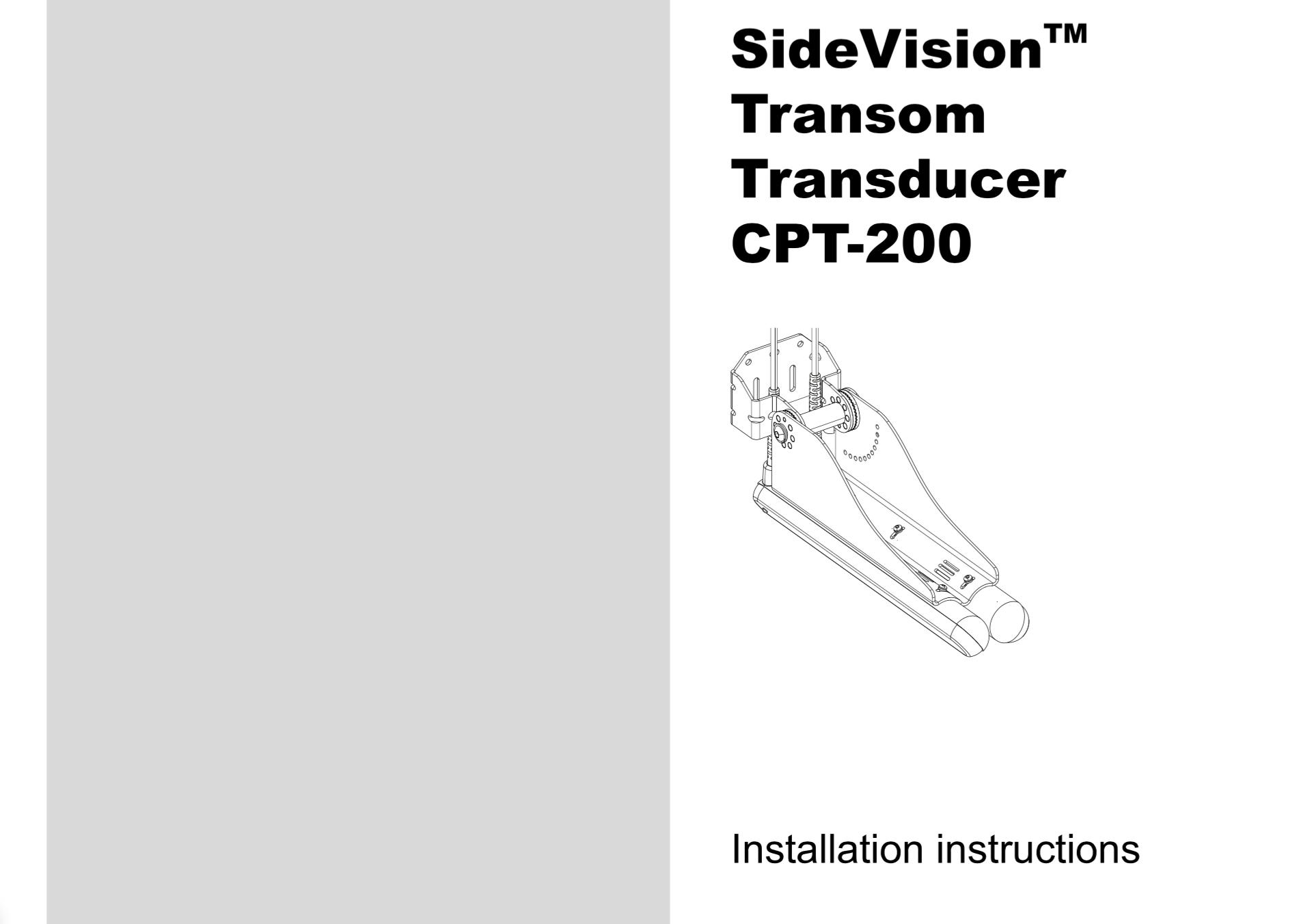 cpt200 transom transducer installation instructions