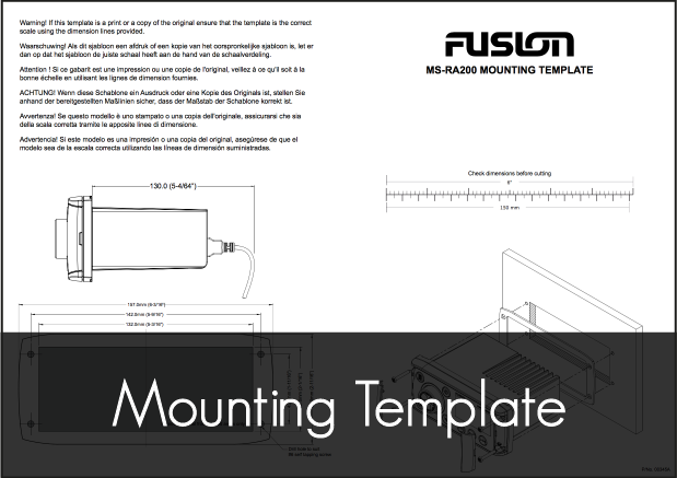fusion msra205 stereo unit mounting template