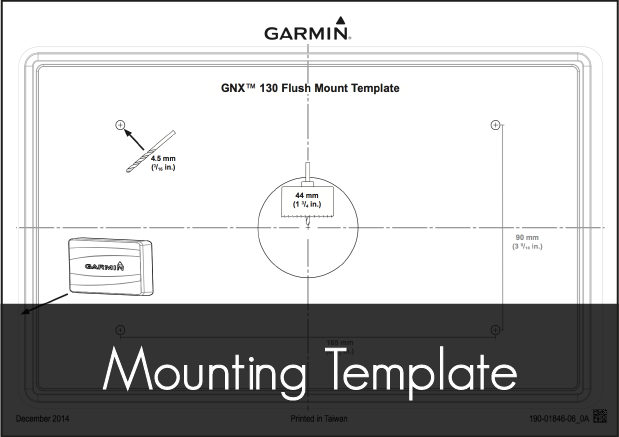garmin gnx 130 marine instrument mounting template