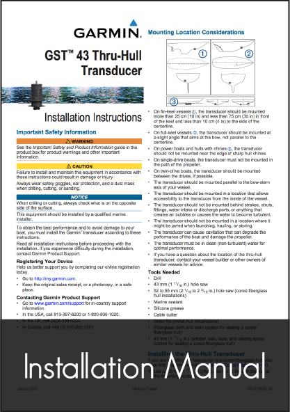garmin gst 43 transducer installation instructions