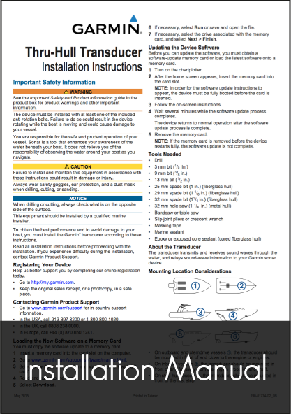 garmin gt21 th transducer installation instructions