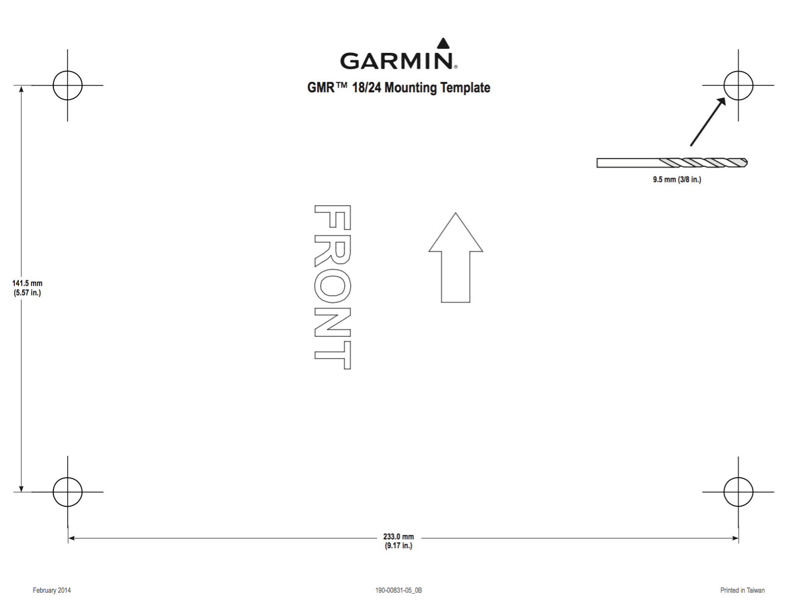gmr 18 hd radar mounting template