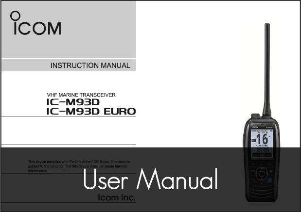 icom ic m93d handheld vhf radio manual