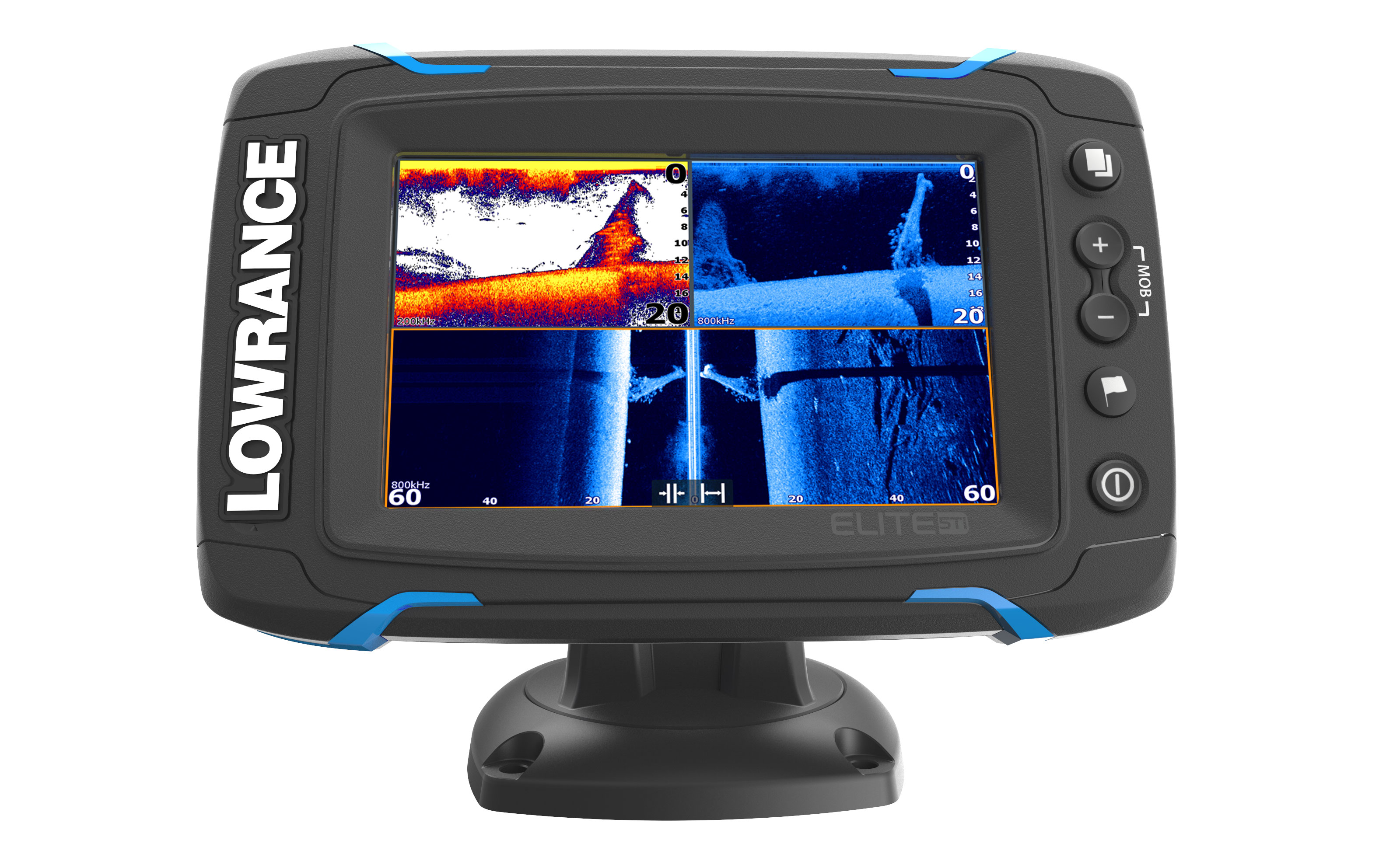 lowrance elite 5 ti gps fishfinder front view