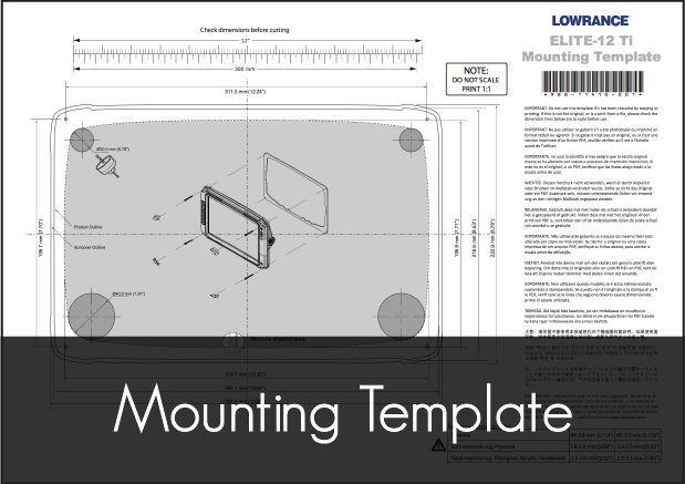 lowrance elite ti 12 mounting template