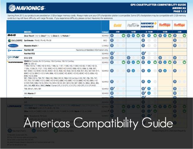 navionics americas compatibility guide