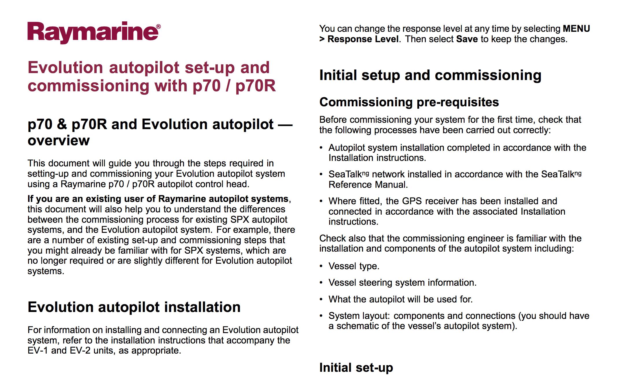 raymarine evolution autopilot setup and commissioning p70 p70r