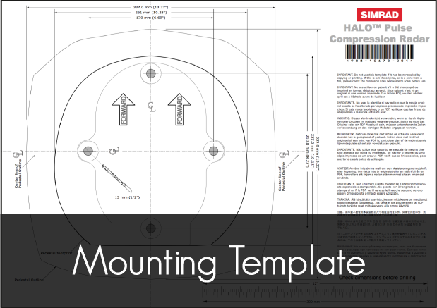 simrad halo pulse compression radar mounting template