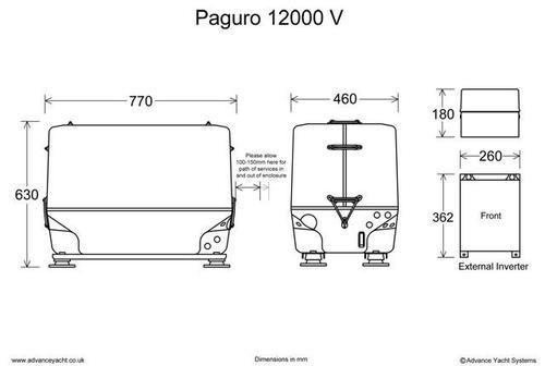 Paguro 12000V Marine Generator Dimensions
