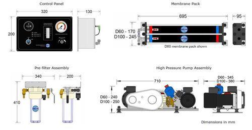 Dessalator D100 DUO Watermaker Dimensions