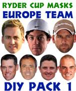 Ryder Cup Team Celebrity Face Masks Pack 1