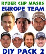 Ryder Cup Team Celebrity Face Masks Pack 2