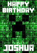 Minecrafting Theme Creeper Green Birthday Card