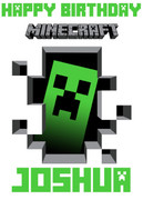 MineCrafting Theme Creeper White Birthday Card