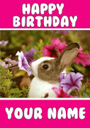 Bunny Pink Flowers Birthday Card