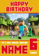MineCrafting Theme 4 Brother Birthday Card