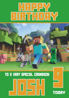 Minecrafting theme grandson birthday card celebrity facemasks image 1 bookmarktalkfo Image collections