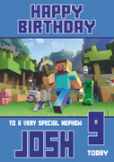MineCrafting Theme Nephew Birthday Card