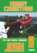 MineCrafting Theme Grandson Christmas Card