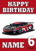 Personalised Gb Sports Car Birthday Card