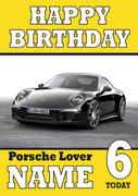 Personalised Porsche Black Birthday Card