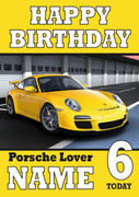 Personalised Porsche Yellow Birthday Card
