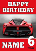 Personalised Red Ferrari Birthday Card