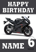 Personalised Black Bike Birthday Card
