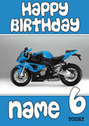 Personalised Blue Bike Birthday Card 2