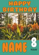 Personalised Orange Tulip Birthday Card