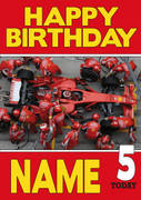 Personalised Ferrari Team 2 Birthday Card